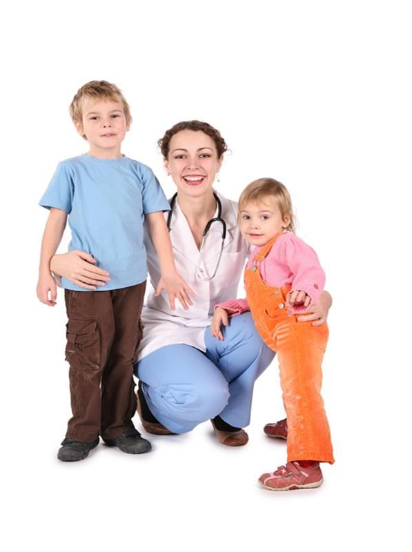 School nurse with children